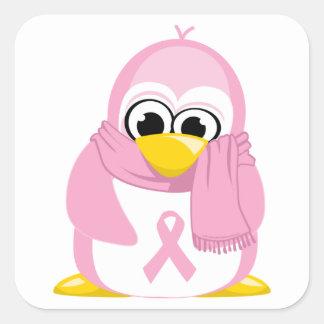 Breast Cancer Pink Penguin Square Sticker