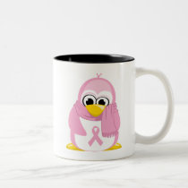 Breast Cancer Pink Penguin Two-Tone Coffee Mug