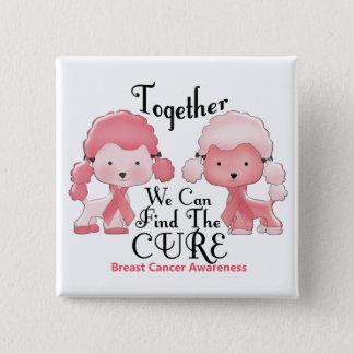 Breast Cancer Pink Poodles Together 2 Button