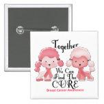 Breast Cancer Pink Poodles Together 2 Pinback Button