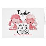 Breast Cancer Pink Poodles Together 2 Greeting Cards