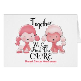 Breast Cancer Pink Poodles Together 2 Card