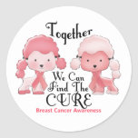 Breast Cancer Pink Poodles Together 2 Classic Round Sticker