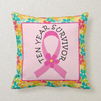 Breast Cancer Pink Ribbon 10 Year Survivor Throw Pillow