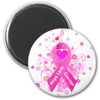 Breast Cancer Pink Ribbon 2 Inch Round Magnet