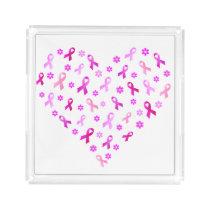 Breast Cancer Pink Ribbon Acrylic Tray