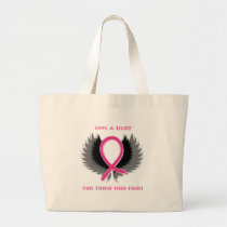 Breast Cancer Pink Ribbon Awareness Large Tote Bag