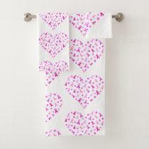 Breast Cancer Pink Ribbon Bath Towel Set