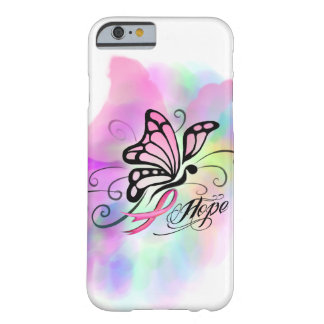 breast cancer, pink ribbon, butterfly water color barely there iPhone 6 case