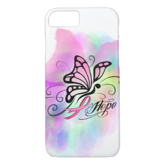 breast cancer, pink ribbon, butterfly water color iPhone 8/7 case