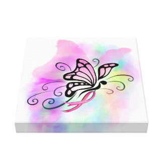 breast cancer, pink ribbon, butterfly watercolor canvas print