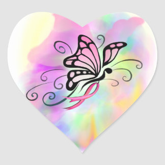 breast cancer, pink ribbon, butterfly watercolor heart sticker
