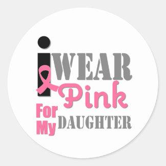 BREAST CANCER PINK RIBBON Daughter Round Sticker