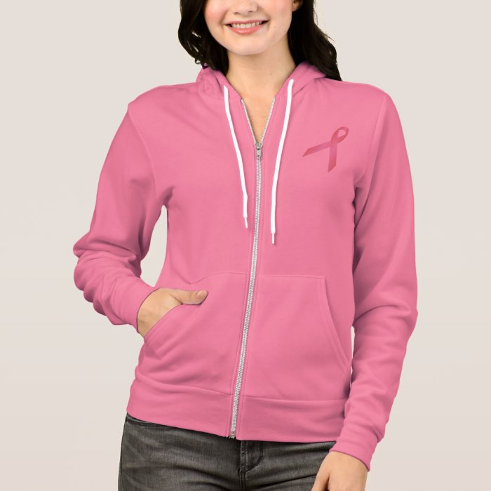 Breast Cancer Pink Ribbon Fleece Raglan Zip Hoodie