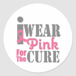 BREAST CANCER PINK RIBBON For The Cure Sticker