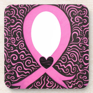 Breast Cancer Pink Ribbon Frame add image/text Beverage Coaster