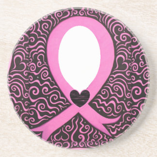 Breast Cancer Pink Ribbon Frame add image/text Drink Coaster