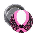 Breast Cancer Pink Ribbon Frame add image/text Pinback Button
