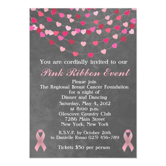 Breast Cancer Pink Ribbon Fundraiser Invitation  ZazzleCom