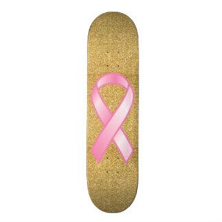 Breast Cancer Pink Ribbon & Gold Sparkle Skateboard