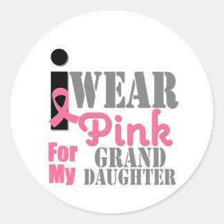 BREAST CANCER PINK RIBBON Granddaughter Round Sticker