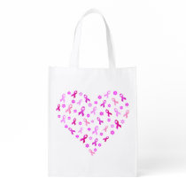 Breast Cancer Pink Ribbon Grocery Bag