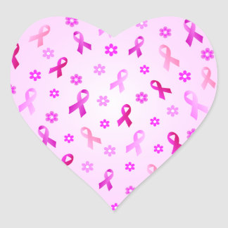 Breast Cancer Pink Ribbon Heart Sticker