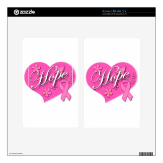 Breast Cancer Pink Ribbon HOPE Heart Skins For Kindle Fire