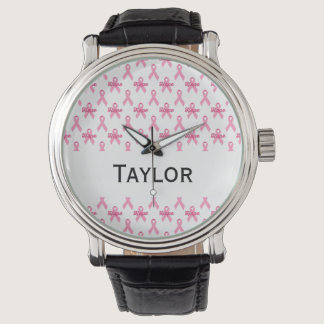Breast Cancer Pink Ribbon Hope Personalized Wrist Watch