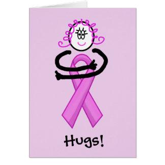 Breast Cancer Pink Ribbon Hug Greeting Card
