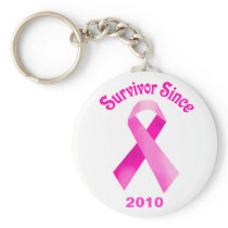Breast Cancer Pink Ribbon Keychain