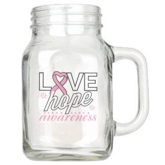 Breast Cancer Pink Ribbon Love Hope Awareness Mason Jar