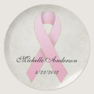 Breast Cancer Pink Ribbon Memorial Plate
