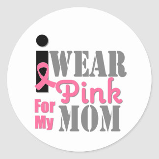 BREAST CANCER PINK RIBBON Mom Round Stickers
