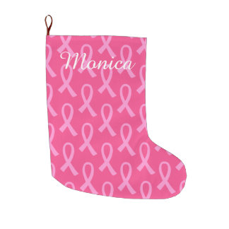Breast Cancer Pink Ribbon Pattern Large Christmas Stocking