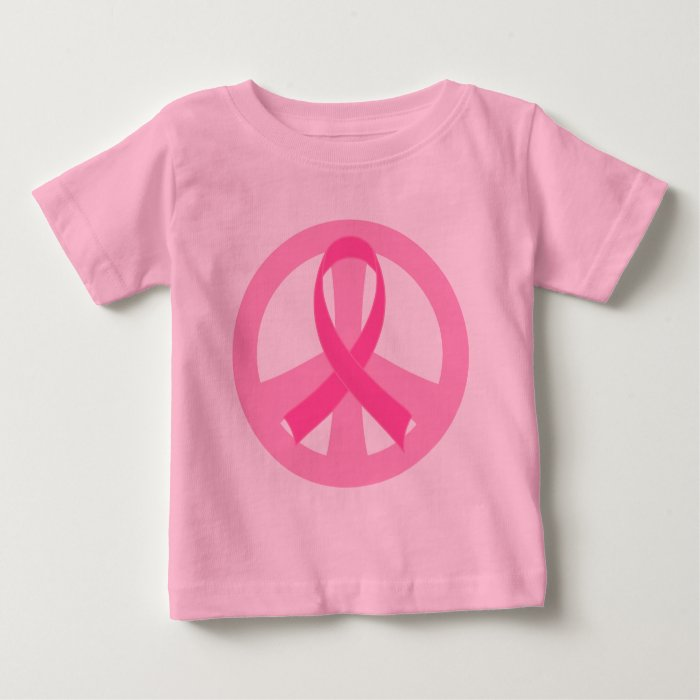 Breast Cancer Pink Ribbon Peace Sign Baby Tee