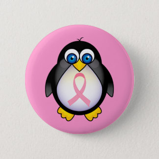 Breast Cancer Pink Ribbon Penguin Gift Button