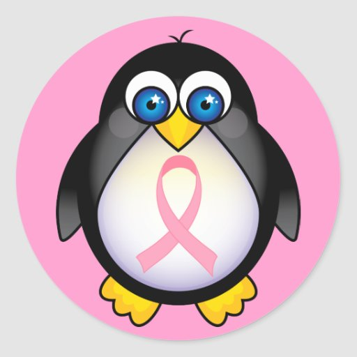 Breast Cancer Pink Ribbon Penguin Gift Classic Round Sticker