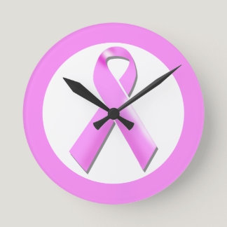 Breast cancer pink ribbon | Personalize Round Clock