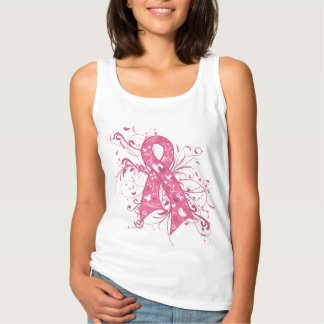 Breast Cancer Pink Ribbon Scroll Basic Tank Top