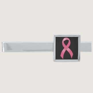 Breast Cancer Pink Ribbon Silver Finish Tie Clip