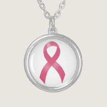 Breast Cancer Pink Ribbon Silver Plated Necklace