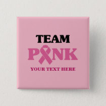Breast Cancer Pink Ribbon Team Button