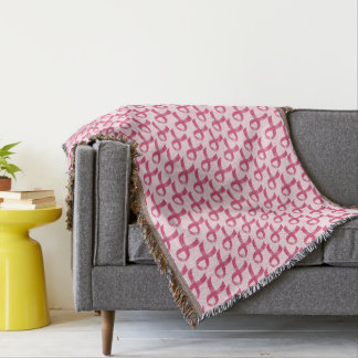 Breast Cancer Pink Ribbon Throw Blanket