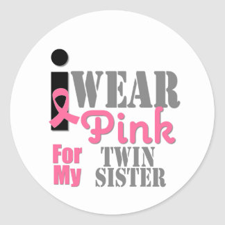 BREAST CANCER Pink Ribbon Twin Sister Stickers