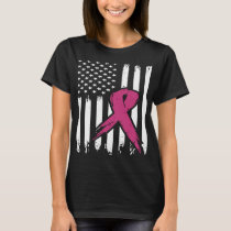 Breast Cancer Pink Ribbon Usa American Flag Awaren T-Shirt
