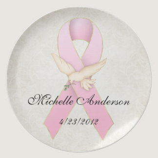 Breast Cancer Pink Ribbon with Dove Memorial Plate