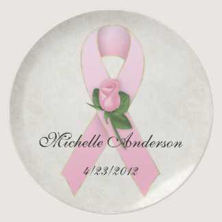 Breast Cancer Pink Ribbon with Rose Memorial Plate