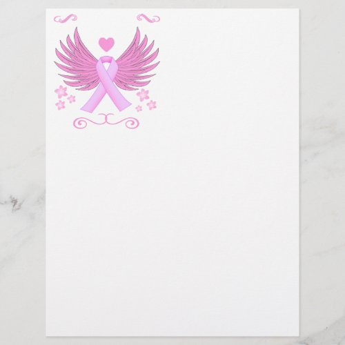 Breast Cancer Pink Wings With Ribbon