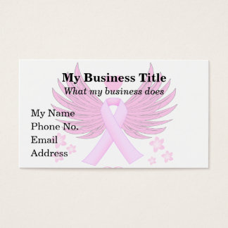 Breast Cancer Pink Wings With Ribbon Business Card